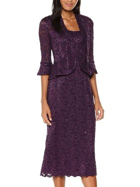 2d40eb2b Product Image RM Richards Women's Sequin Lace Midi Dress With Jacket -  Mother of The Bride Wedding Dresses