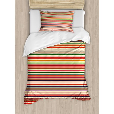 Abstract Duvet Cover Set, Vivid Horizontal Colorful Striped Lines Background Rainbow Bars Artistic Display, Decorative Bedding Set with Pillow Shams, Multicolor, by Ambesonne