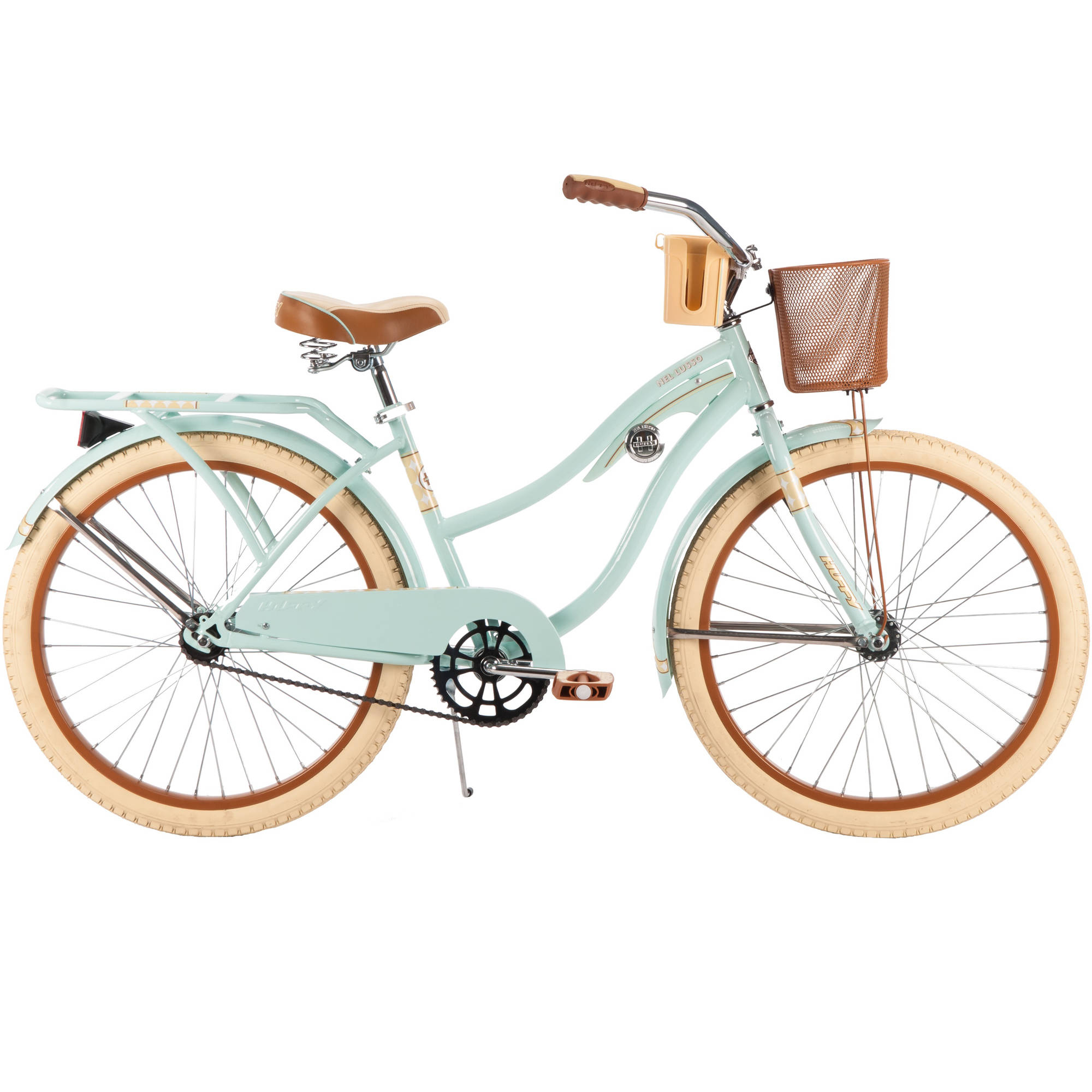 "Huffy 24"" Nel Lusso Womens' Cruiser Bike with Basket, Mint"