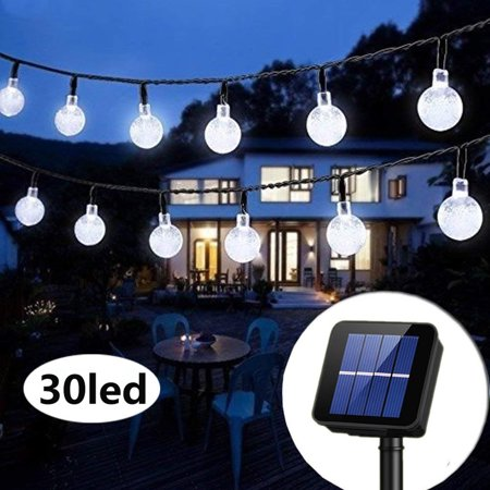 21ft 30 LED Solar String Ball Lights Outdoor Waterproof Warm White Garden Decor ()