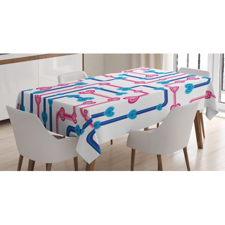 Romance Tablecloth, Retro Hearts and Pipes in Subway Map Route Funky Love Valentines Display, Rectangular Table Cover for Dining Room Kitchen, 52 X 70 Inches, Hot Pink Sky Blue, by Ambesonne