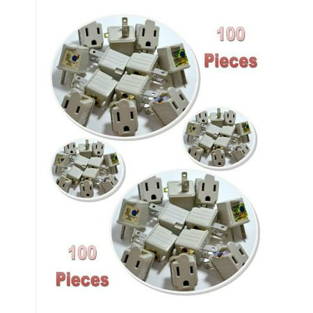 100 Pack 3 to 2 prong AC Polarized Grounding AC Power Plug Adapter UL RATED