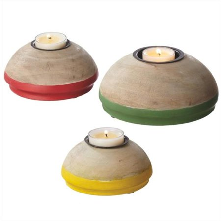 Set of 3 Red, Green and Yellow Carved Mango Wood Tea Light Candle Holder Decorations 5.75