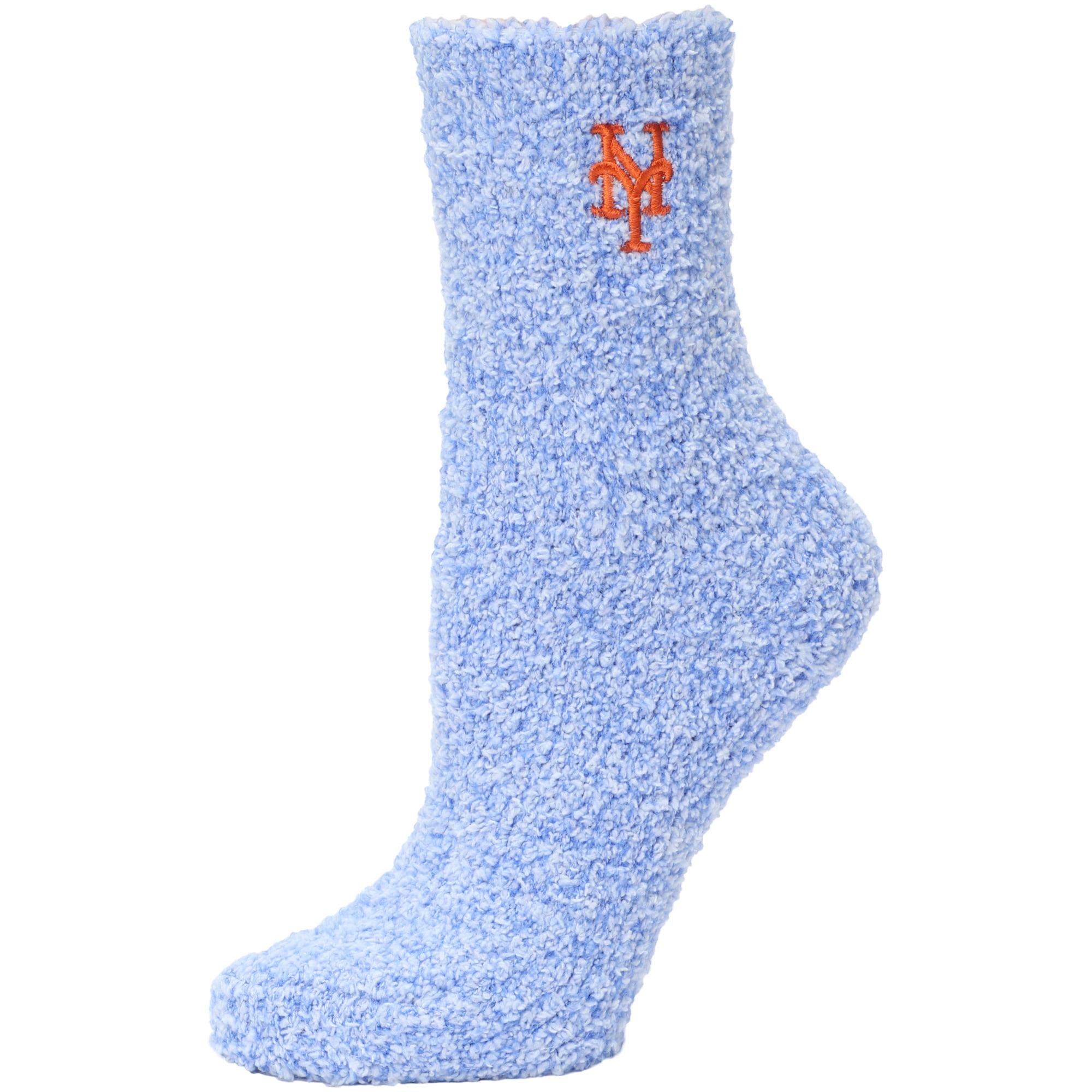 New York Mets Women's Fuzzy Block Tri-Blend Socks - Royal - M