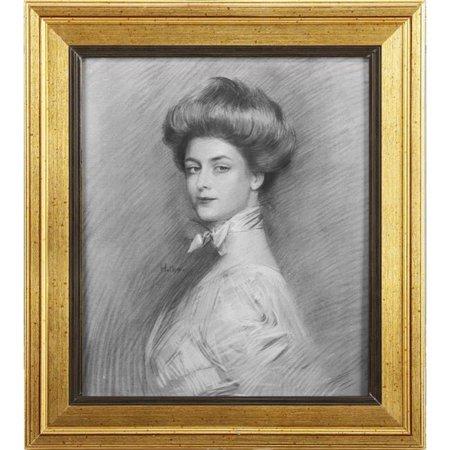 Benzara BM180962 Natural Wooden Framed Portrait of Charlotte Wall Art, Multi Color - image 1 de 1