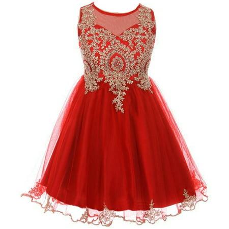 Little Girls Dress Sparkle Rhinestones Holiday Christmas Party Flower Girl Dress Red Size 4 (M10BK49)