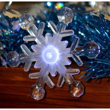 set of 8 battery operated led musical snowflake twinkling christmas lights