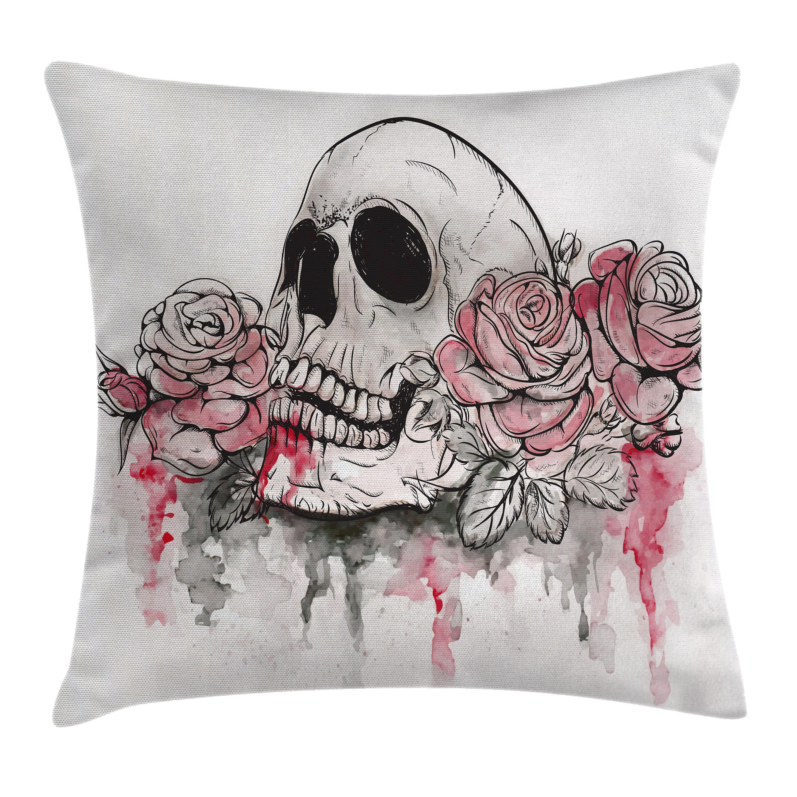 Day Of The Dead Decor Throw Pillow Cushion Cover, Print of Skull Dead with Romantic Roses Celebration Day, Decorative Square Accent Pillow Case, 20 X 20 Inches, White Light Pink Black, by Ambesonne