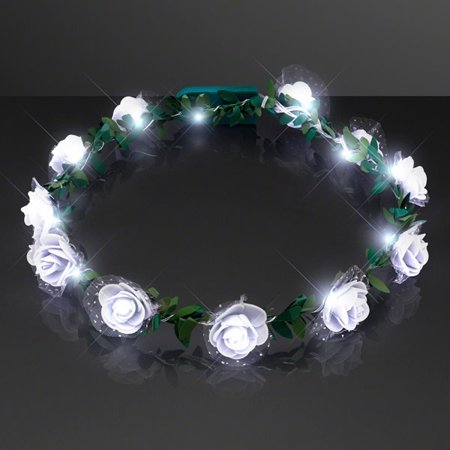 Light Up White Rose Flower Princess Halo Crown Headband by Blinkee](Light Up Flower Crown)