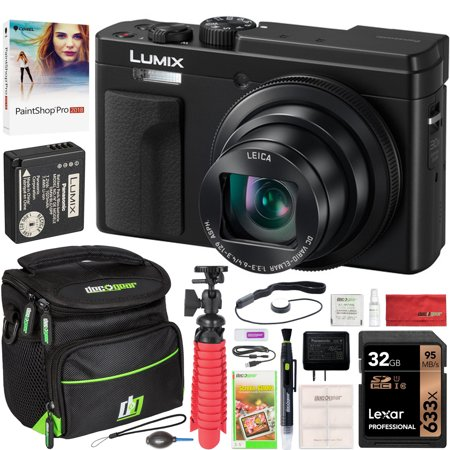 Panasonic Lumix DC-ZS80 4K Wi-Fi Digital Camera ZS80 (Black) with LEICA DC VARIO-ELMAR 30x 24-720mm Lens with Deco Gear Photography Gadget Bag + 32GB + Photo Video Software & Accessory