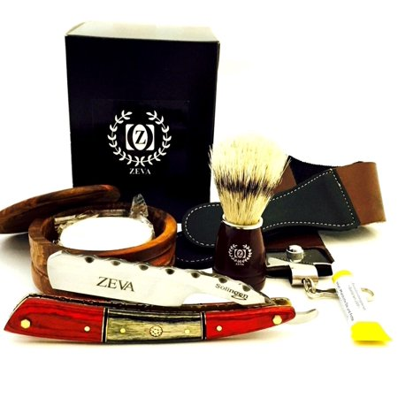 ZEVA Men's Best Wooden Straight Razor, Dovo Paste Shaving Set Kit in Gift