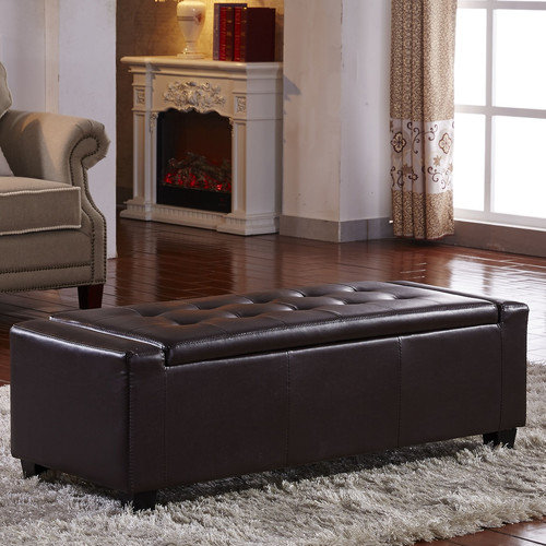 NOYA USA Contemporary Leather Storage Entryway Bench