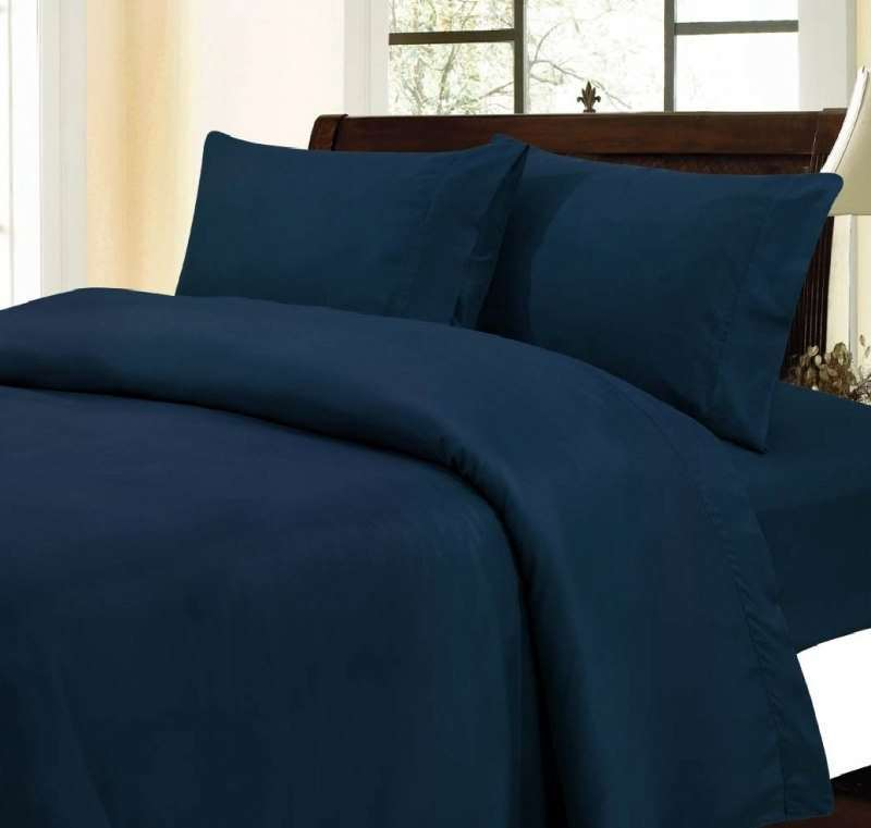 Egyptian Bedding 100% Egyptian Cotton 300 Thread Count 4 Peice Bed Sheet Set, Navy Solid, Queen Size