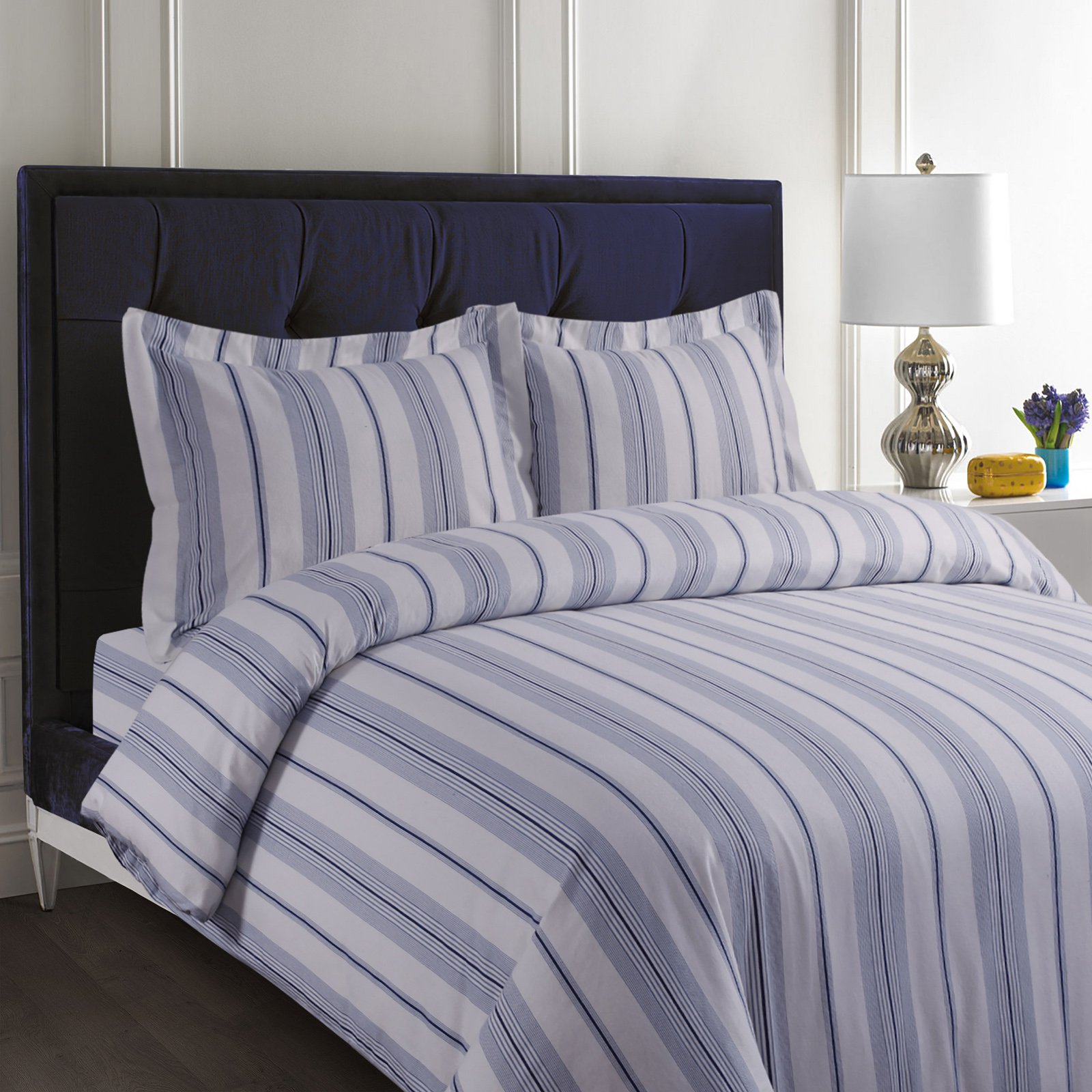 Printed Flannel 3 Piece Stripe Duvet Cover Set by Tribeca Living - Light Blue