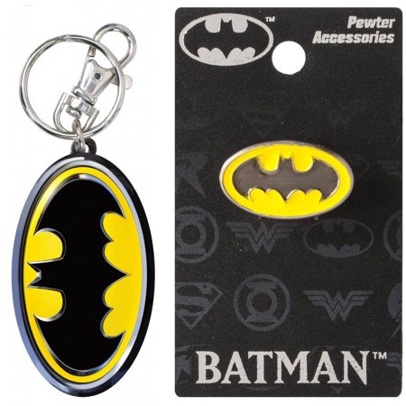 Pewter Keychain Measures (Bundle 2 Items: One (1) Batman Pewter Color Keychain and One (1) Pewter Lapel Pin )