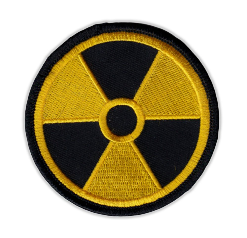 "Motorcycle Jacket Embroidered Patch - Radioactive Nuclear Symbol (Yellow, Black) - Vest, Cut, Leathers - 3"" Round"