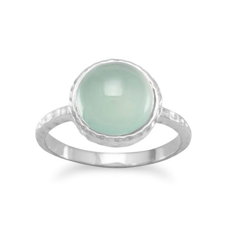 Sterling Silver Ring 10mm Cabochon Sea Green Chalcedony Stone 1mm Wide - Ring Size: 5 to - Chalcedony Nugget