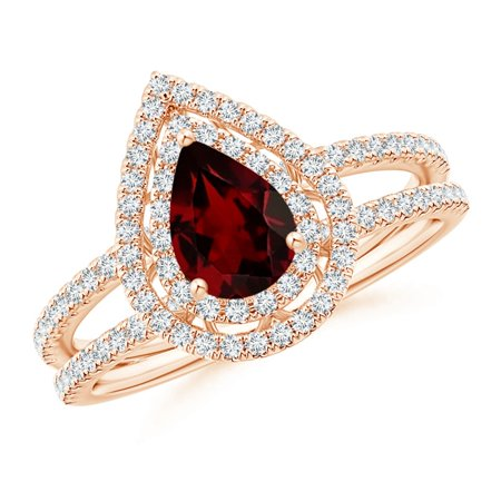 Valentine Jewelry Gift - Split Shank Pear Garnet and Diamond Double Halo Ring in 14K Rose Gold (7x5mm Garnet) - SR1092GD-RG-AA-7x5-12.5