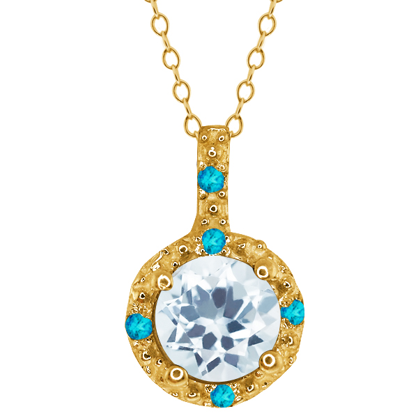 0.63 Ct Round Sky Blue Topaz Swiss Blue Simulated Topaz 14k Yellow Gold Pendant