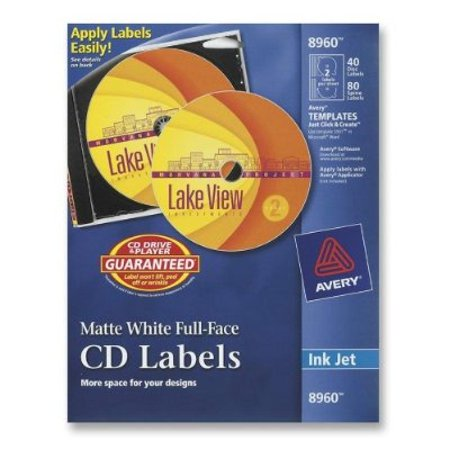 Avery CD Labels, White Matte, 40 CD Labels and 80 Spine Labels (8960) (Avery Spice Labels)