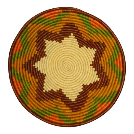 Rim Display (The Crabby Nook African Basket Cinnamon Spice Rim Autumn Tones Raffia Fruit or Display Home Decor )