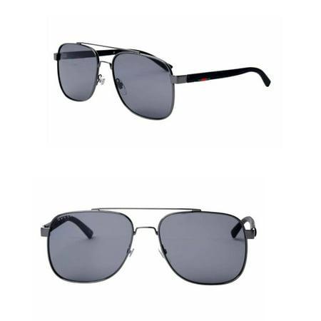 Gucci GG0422S 002 Men Sunglasses 60mm (002 Ruthenium/ Grey Polarized)
