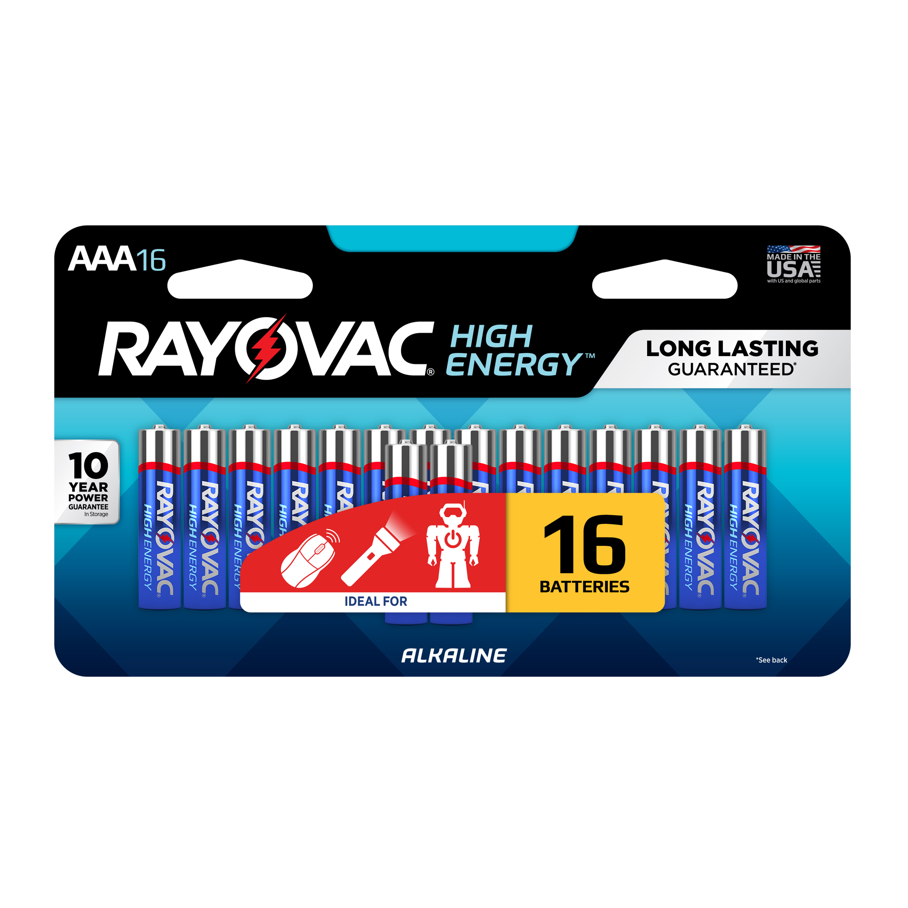 Rayovac High Energy Alkaline AAA Batteries, 16 Count