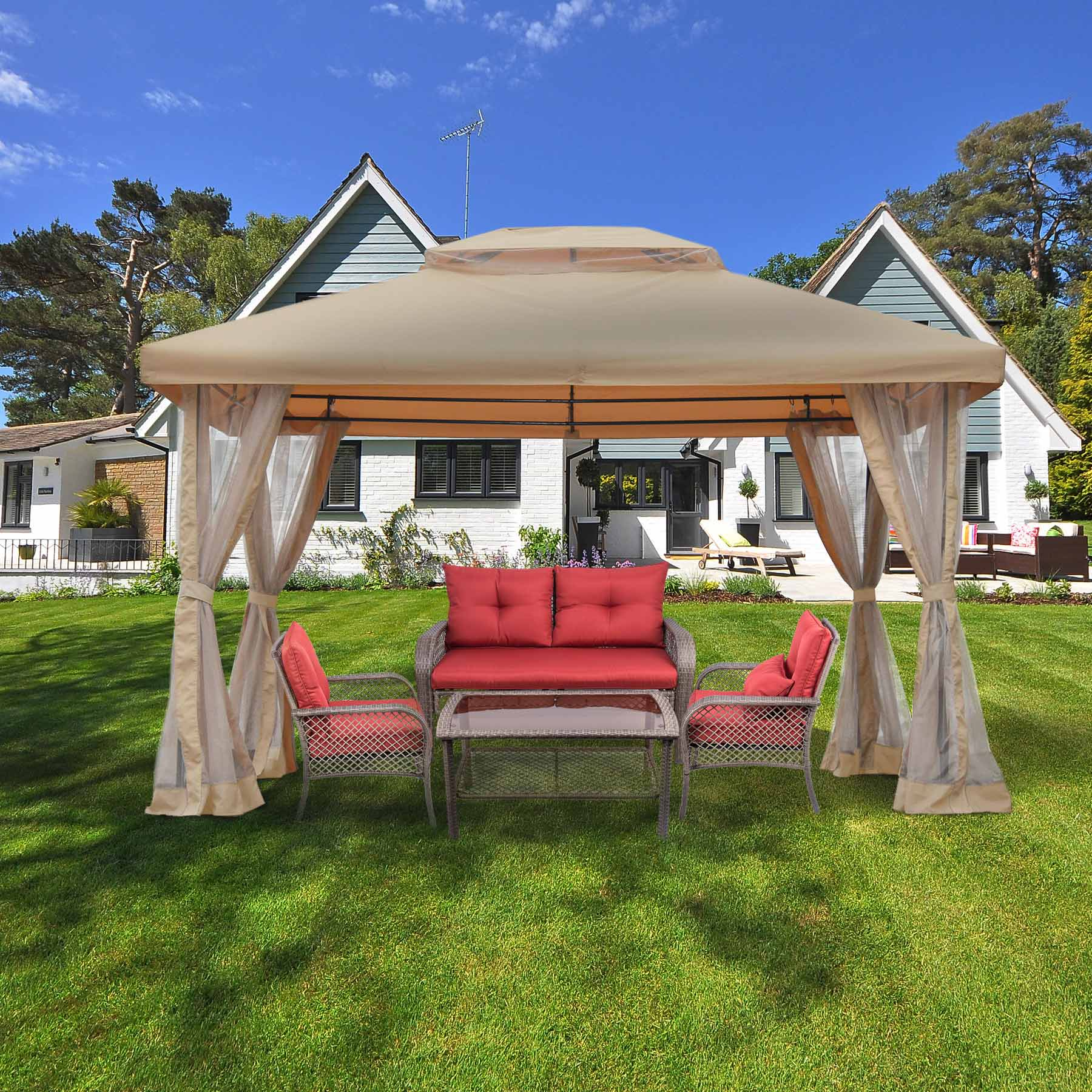 Garden Outdoor Gazebo Patio Canopy 10' x 12' with Sheer Curtain, Fully Enclosed by CO-Z