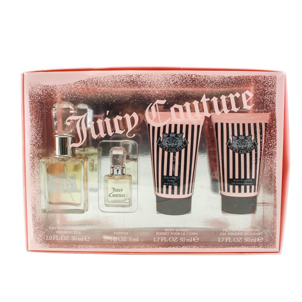 Juicy Couture 4pc. Gift Set ( Eau De Parfum Spray 1.0 Oz + Body Sorbet 1.7 Oz + Frothy Shower Gel 1.7 Oz + Parfum 0.17 Oz ) for Women