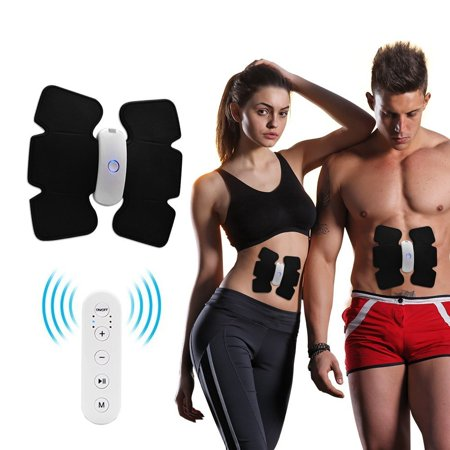 Ikeepi EMS Muscle Training Device Compact Electric Muscle Toner with Smart Digital Chip, Specially Designed for Abdominal Muscle, 10 Intensity Levels, Suitable for Men and Women, Black