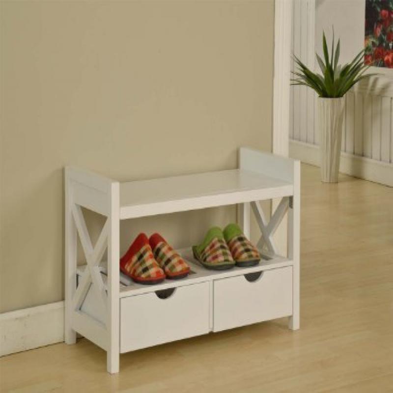 Kings King's Brand White Finish Wood Shoe Storage Bench W...