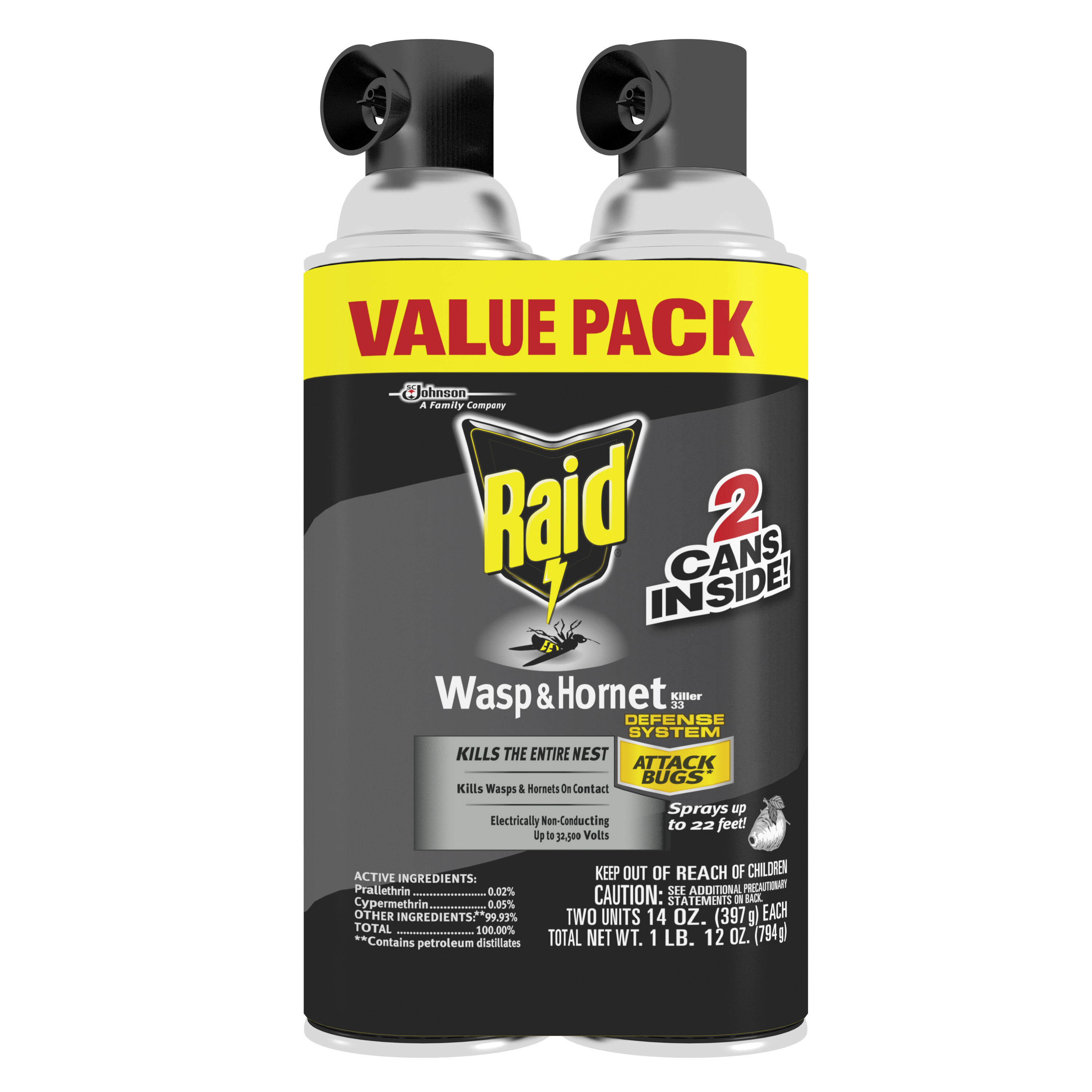 Raid Wasp & Hornet Killer Spray, 14 oz, 2 pk