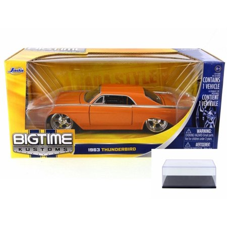 Diecast Car & Display Case Package - 1963 Ford Thunderbird, Orange - JADA 90361 - 1/24 Scale Diecast Model Toy Car w/Display Case (Diecast Case Backhoe)