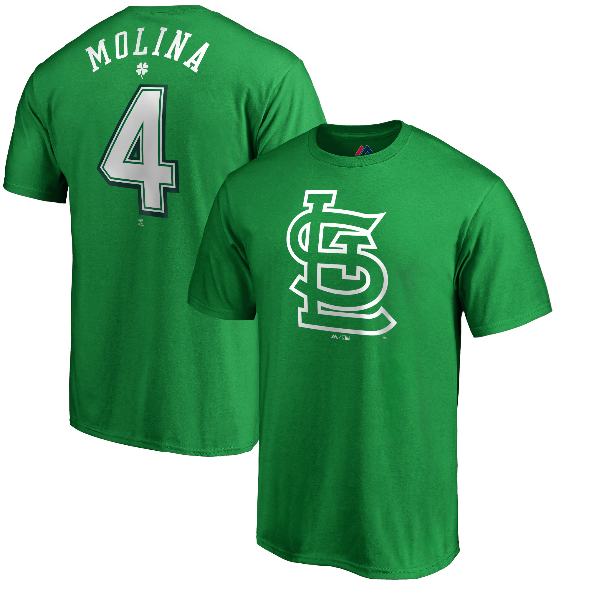 Yadier Molina St. Louis Cardinals Majestic St. Patrick's Day Stack Player Name & Number T-Shirt - Kelly Green