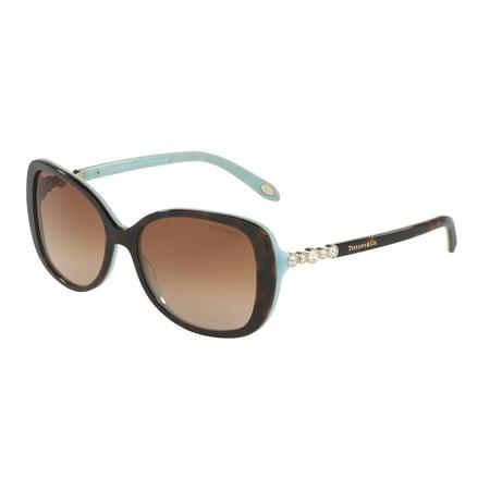Tiffany 0TF4121B Full Rim Rectangle Womens Sunglasses - Size 55 (Brown Gradient) Polarized Brown Gradient Sunglasses