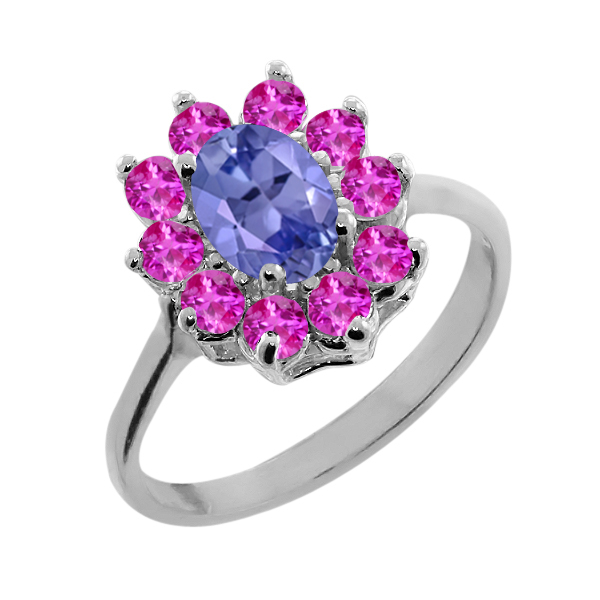 1.25 Ct Oval Blue Tanzanite Pink Sapphire 14K White Gold Ring by