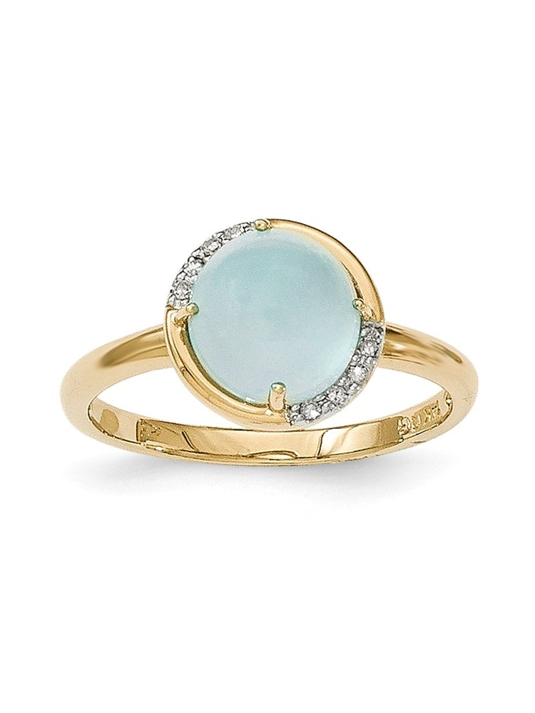 14K Yellow Gold (0.04cttw) Blue Chalcedony and Diamond Ring Size-7 by