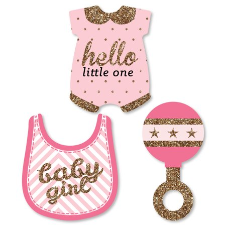 Hello Little One - Pink and Gold - DIY Shaped Girl Baby Shower Cut-Outs  - 24 Count - Girl Babyshower