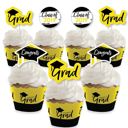 Yellow Grad - Best is Yet to Come - Cupcake Decoration - 2019 Yellow Graduation Party Cupcake Wrappers and Treat Picks Kit - Set of