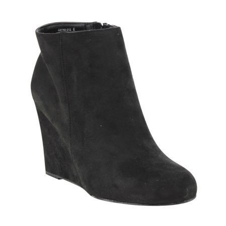 ED56 Women's Classic Side Zipper High Wedge Ankle Booties