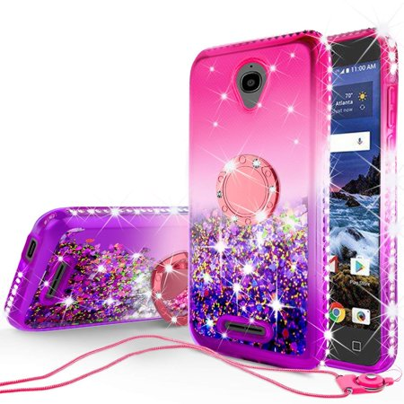 SOGA Rhinestone Liquid Quicksand Cover Cute Girl Phone Case Compatible for  Alcatel Verso/CameoX/Alcatel IdealXcite/Raven Case,with Embedded Metal Ring