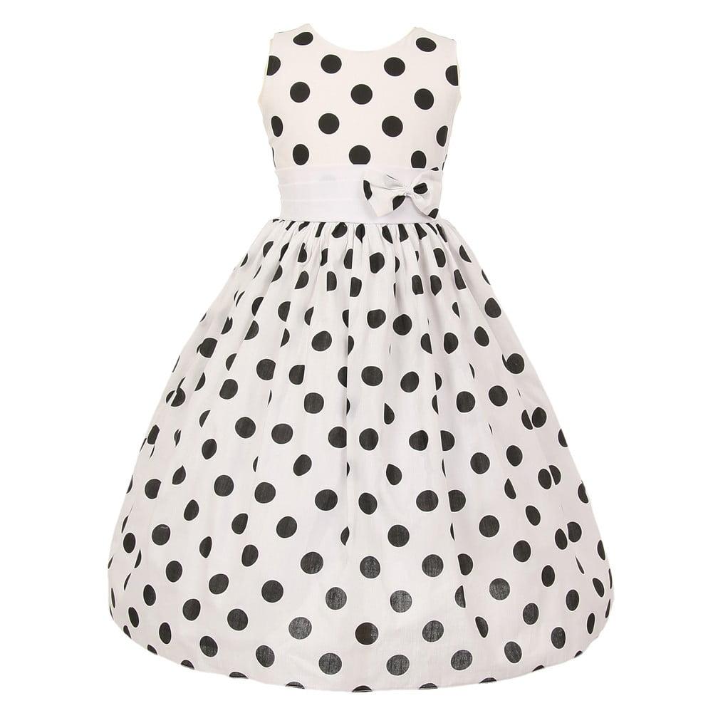 Little Girls White Black Polka Dots Poly Cotton Spring Ea...