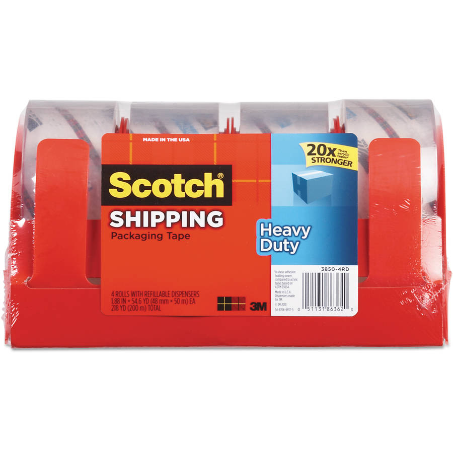 "Scotch 3850 Heavy-Duty Packaging Tape, 1.88"" x 54.6 yd, Clear, 4-Pack"
