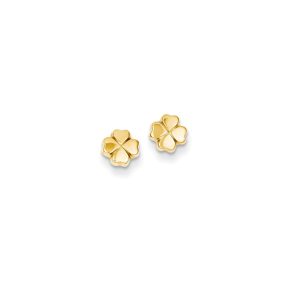 14k Yellow Gold Polished 4-Leaf Clover Post Stud Earrings. (6MM)