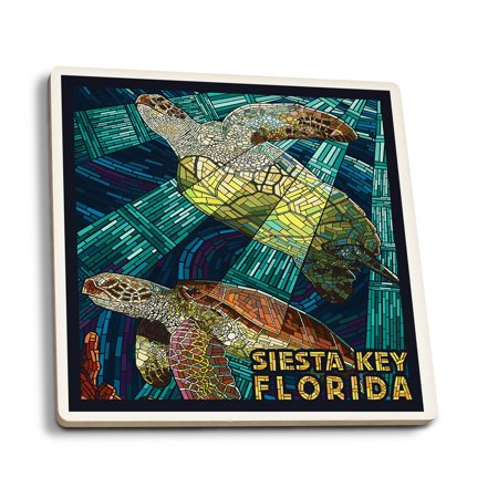 Siesta Key, Florida - Sea Turtle - Mosaic - Lantern Press Artwork (Set of 4 Ceramic Coasters - Cork-backed, Absorbent) for $<!---->