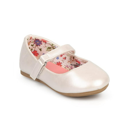 Little Angel DC39 Girl Leatherette Round Toe Classic Velcro Mary Jane Flat (Toddler/ - Ivory Color Flat