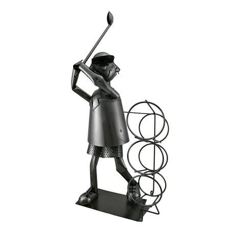 Golfer Wine Caddie - Tee Time Sculptured Steel Golfer at the Range 3 Bottle Wine Holder