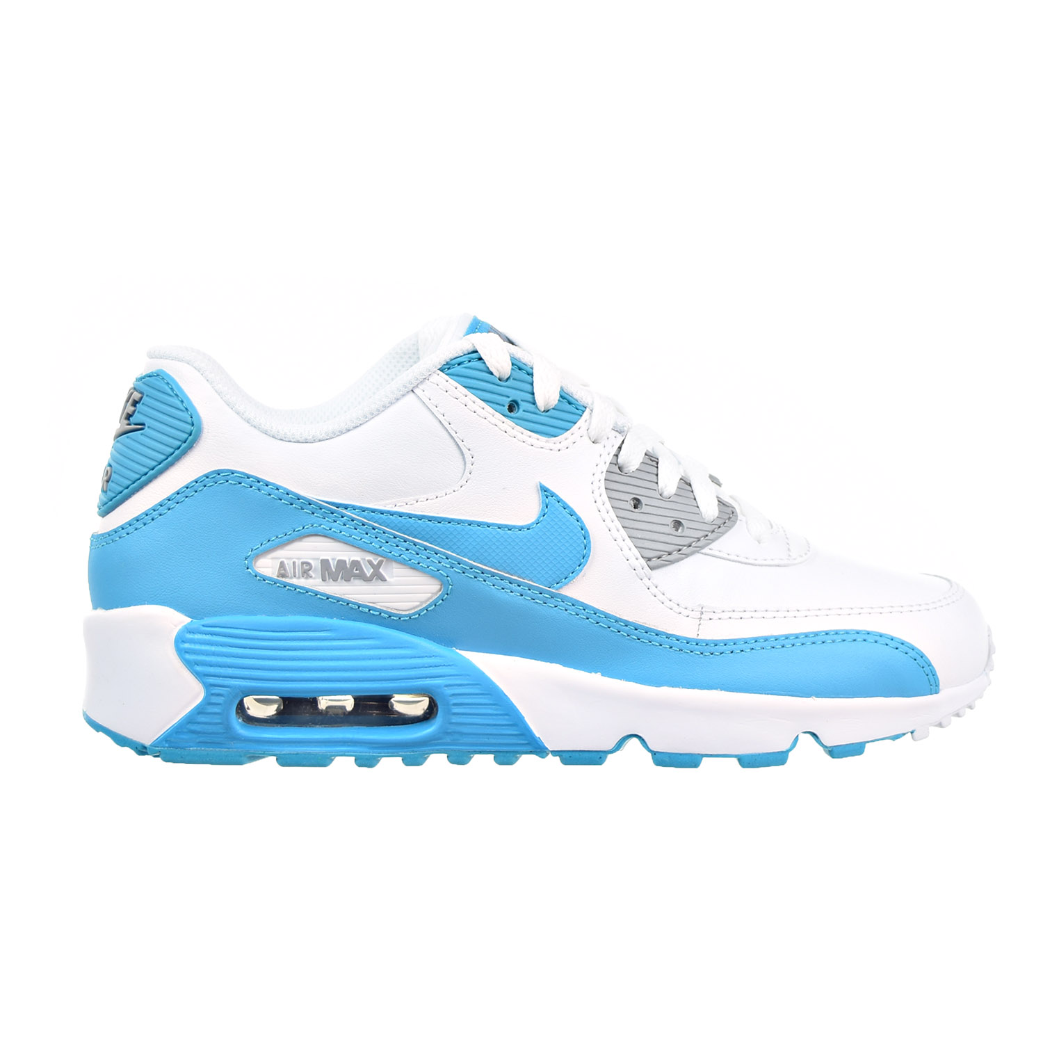Nike Air Max 90 LTR Big Kid's Shoes White/Chlorine Blue/Wolf Grey 833376-101 (5.5 M US)