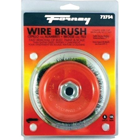 Forney Industries 72754 Crimped Wire Cup Brush, 5 in Dia x 5/8 - 11 in, 0.014 in Wire