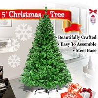 5ft Tall Artificial Christmas Tree W/ Steel Stand--Green